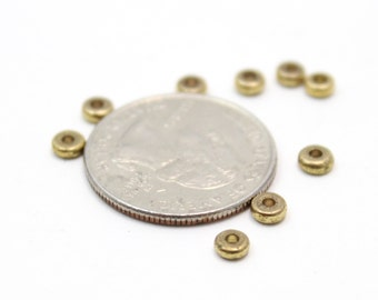 Round Brass Spacer Caps Findings 2x4mm 10pcs