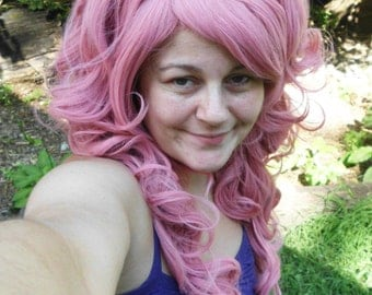 Pink Wig, Bump Wig, Long Curly, pastel, pinkie pie wig, Rose Quartz cosplay, Marie Antoinette Wig, Lolita, Curly, Drag Queen, scene hair
