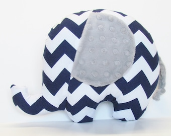 Navy Chevron and Silver Gray Minky Dot Stuffed Elephant Baby Toy Pillow, Nursery Pillow Decor, Photography Prop