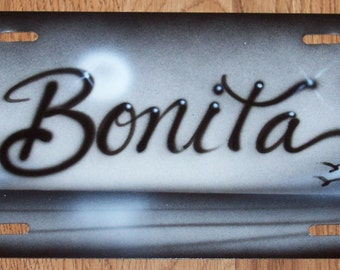 Airbrushed Beach scene heavy metal license plate PERSONALIZED.airbrush car tag..