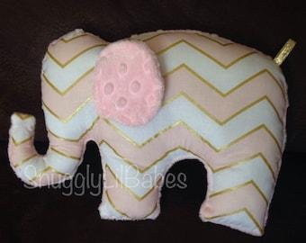 Pink, gold elephant toy, pink snd gold chevron, baby pink minky dot