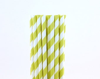 Light Green Striped Paper Straws-Light Green Straws-Vintage Birthday Straws-Ice Cream Party Straws-Striped Paper Straws-Wedding Straws