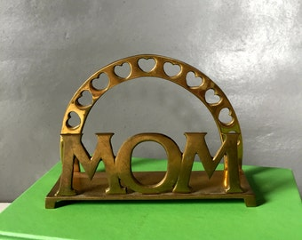 Vintage Solid Brass Letter Holder, MOM