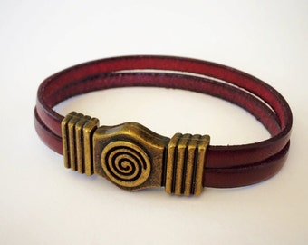 Burgundy 2-Strand 5mm Leather Bracelet with Antique Brass/Silver Spiral Clasp