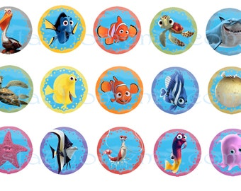 INSTANT DOWNLOAD Nemo One Inch 4x6 Bottle Cap Images Dory Marlin Pearl Tank Bubbles Finding Nemo Squirt Bruce Fish Disney