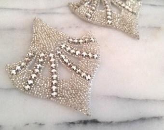Mid-Century Art Deco Style, Crystal Rhinstone Appliques
