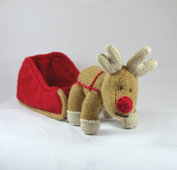 KNITTING PATTERN Reindeer and Sleigh Christmas Knitting