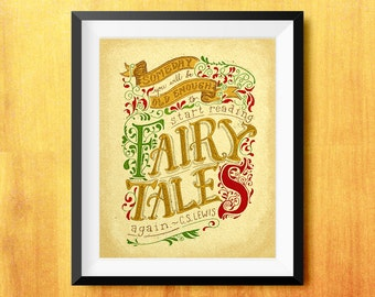 Old Enough to Read Fairy Tales C.S. Lewis Printable Quote (Hand Lettering)