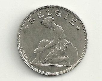 a nice old 1922 Belgium 1 Franc KM90 coin