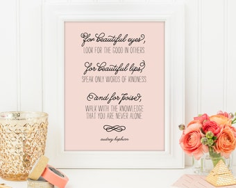 Audrey Hepburn Quote Print, Printable art wall decor, Inspirational quote poster - Instant Download
