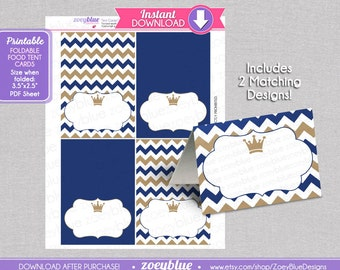 Baby shower candy making recipe cards etsy studio little prince blank food tent cards boy birthday buffet tags navy gold name place cards foldable printable digital file instant download forumfinder Choice Image