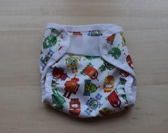 Robot PUL Cloth Diaper Cover - Extra Small (Newborn) - 6 - 14 lbs.
