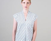 Deep V blouse, Bird print cotton shirt