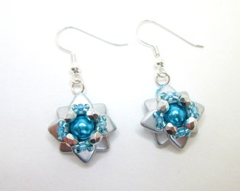 Turquoise and silver starflower earrings, aqua flower jewelry, aquamarine floral jewellery,
