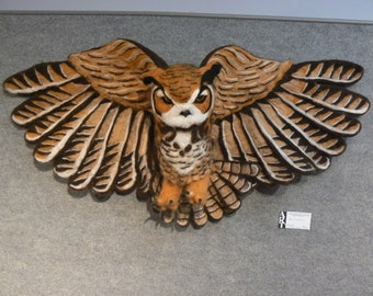 Needle felted Great Horned Owl Wall Hangning Sculpture 'The Woodsman'