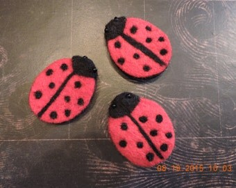 Cute -Ladybug- Felt Magnets-Insect-Love Bug-Bead-Polk-a-Dot-Lucky-Magnetic-Gift for Her-Thinking of You-Anniversary-Birthday-Cheer-Get Well