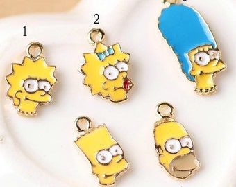 10 pcs of antique gold cartoon characters Simpsons charm pendants 10x15mm