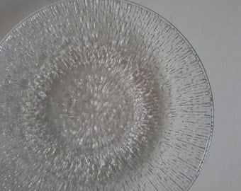 4 Vintage Indiana Glass Crystal Ice Salad Plates.