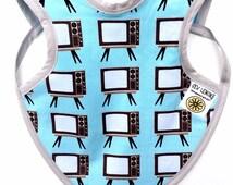 Retro TV Baby Bib, Retro Baby Clothes, Baby Boy Drool Bapron, baby boy gift, baby apron, retro boy clothes,