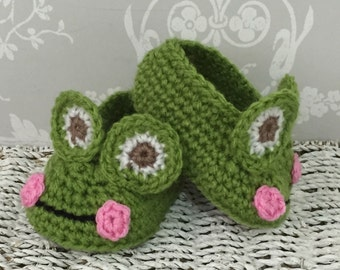 Crochet Frog baby slippers booties
