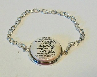 Proverbs 31:25 She is Clothed in Dignity and Strength Silver Chain Fashion Bracelet