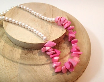 Hot Pink Shell and Pearl Bead Necklace