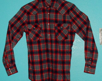 """70s80s """"Canyon Trails"""" Guys LS Woven Acrylic Plaid Cowboy Western Snap Shirt — Size S"""