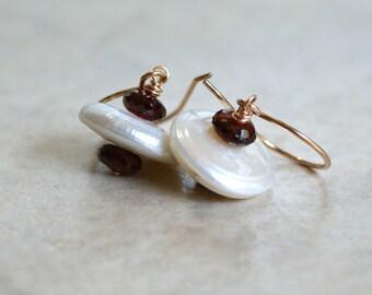 Coin pearl drop earrings, pearl, garnet earrings, 14k rose gold ear wires, coin pearl jewelry gift for her, garnet earrings, garnet jewelry