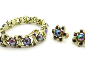 Longcraft Bracelet Set, Vintage Demi Parure, Rivoli Rhinestone Set, Screwback Earrings Set, Free Shipping