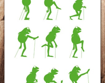 Ministry of Silly Frog Walks 8x10 inch  Print Monty Python Art Print