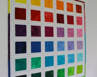 "Wall Hanging Miniature Patchwork Rainbow Art Quilt -""Paint Chips"" and Hanging Hardware"
