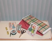 Dollhouse Miniature Sewing Set 3 - Country Colors