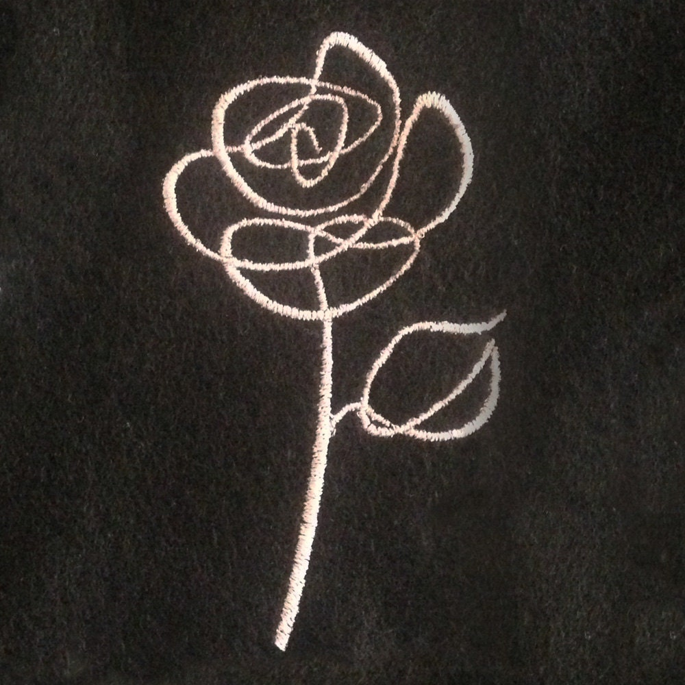 Abstract rose sketch outline machine embroidery design in five