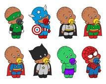 Cute African American Baby Superhero, Afro-American Babies Superheros Digital Clip Art - YDC118