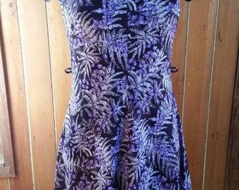 Vintage polyester purple dress with fern design size 10