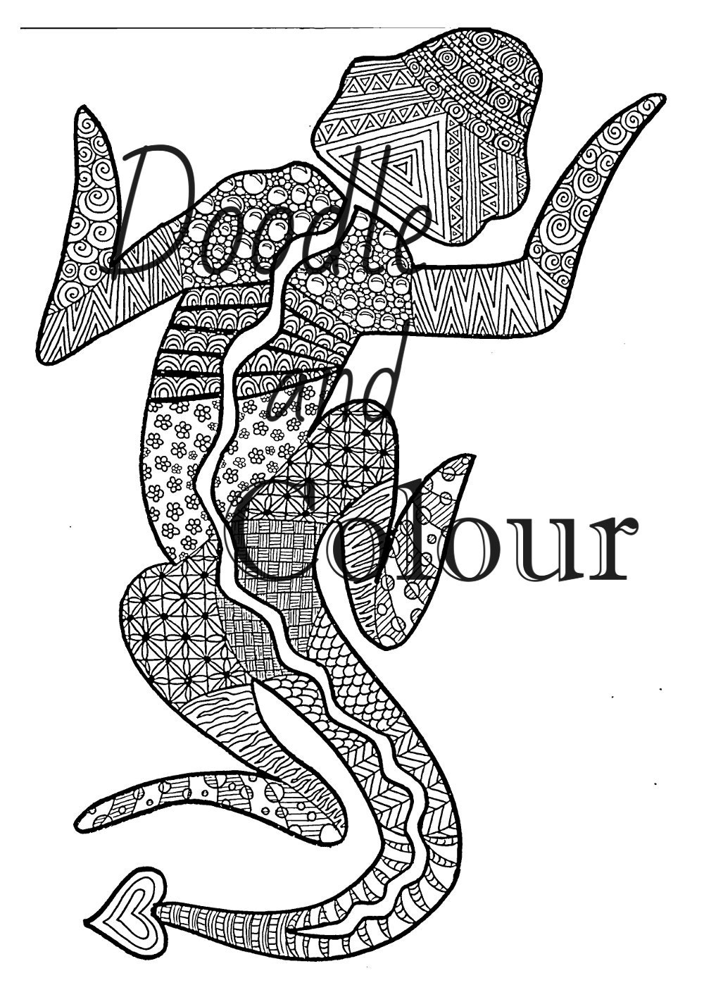 Lizard Adult Colouring Page Instant Download Printable
