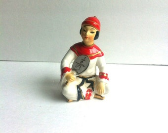 Vintage Asian Man Figurine Holding Fan Red Gold White Robes