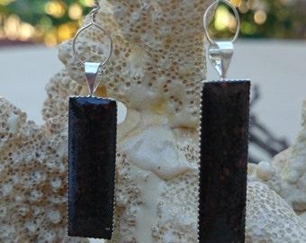 COFFEE earrings....maui coffee set in a sterling bezel