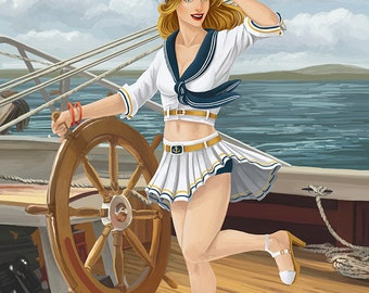 Pinup Girl Sailing (Art Prints available in multiple sizes)
