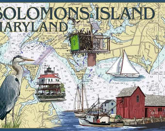 Solomons Island, Maryland - Nautical Chart (Art Prints available in multiple sizes)