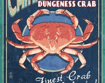 Camano Island, Washington - Dungeness Crab Vintage Sign (Art Prints available in multiple sizes)