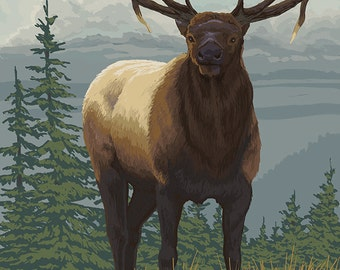 Elk in Forest (Art Prints available in multiple sizes)