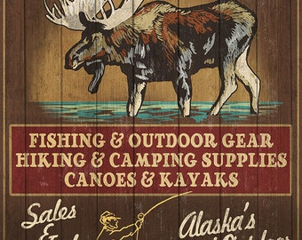 Ketchikan Outfitters Moose - Ketchikan, Alaska (Art Prints available in multiple sizes)