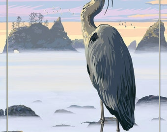 Olympic National Park - Heron and Fog Shorline (Art Prints available in multiple sizes)