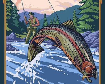 The Adirondacks, New York State - Fly Fisherman (Art Prints available in multiple sizes)