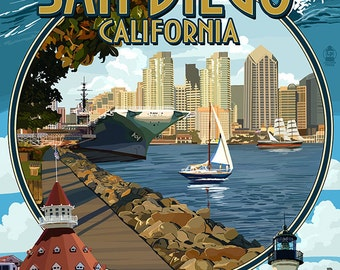 San Diego, California Montage (Art Prints available in multiple sizes)