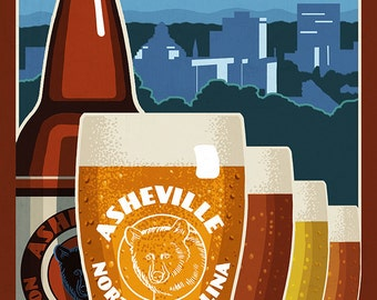 Asheville, North Carolina - Beervana (Art Prints available in multiple sizes)