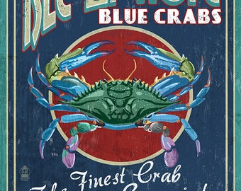 Isle of Hope, Georgia - Blue Crabs Vintage Sign (Art Prints available in multiple sizes)