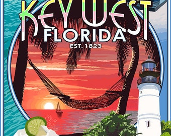 Key West, Florida - Montage (Art Prints available in multiple sizes)
