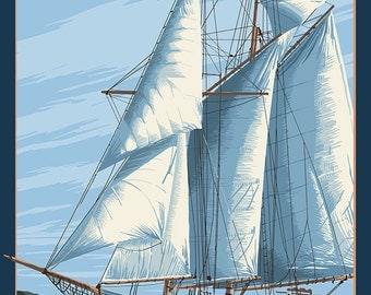 Chestertown, Maryland - Sailboat Scene (Art Prints available in multiple sizes)